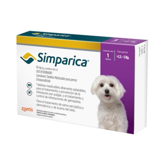 2.5kg a 5kg / 3 Tabletas Para Pulgas y Garrapatas / Simparica
