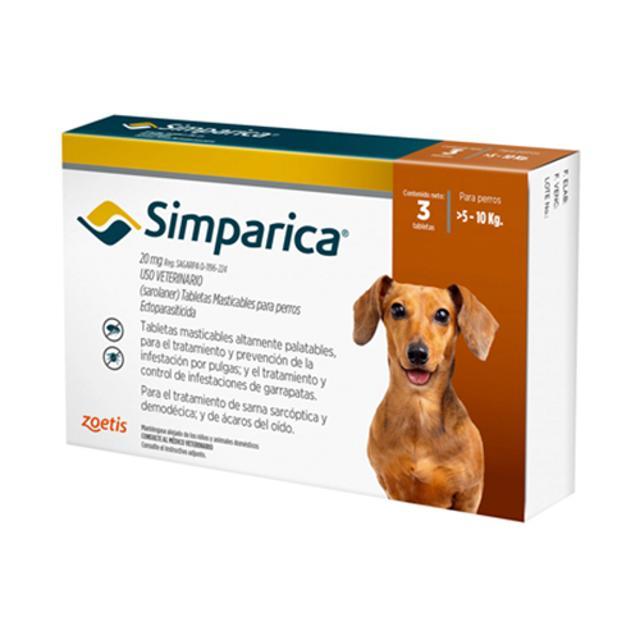 5kg a 10kg / 3 Tabletas Para Pulgas y Garrapatas / Simparica
