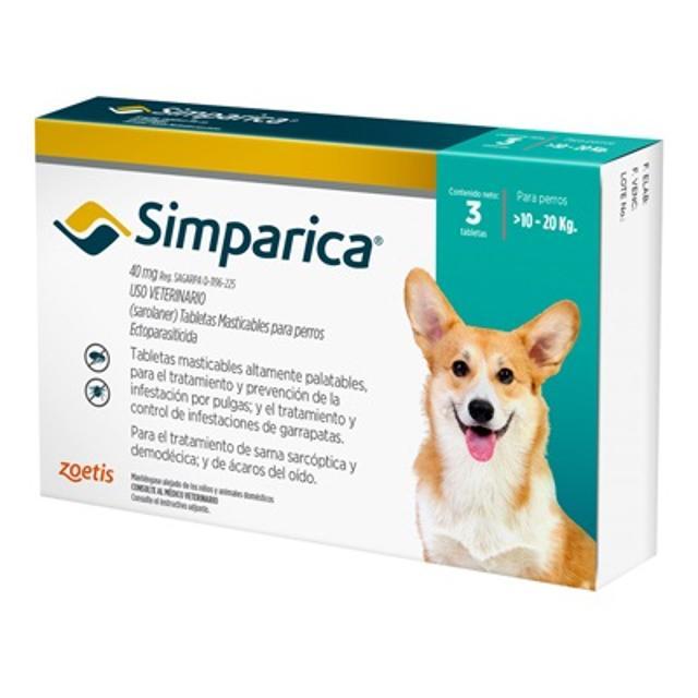 10kg a 20kg / 3 Tabletas Para Pulgas y Garrapatas / Simparica