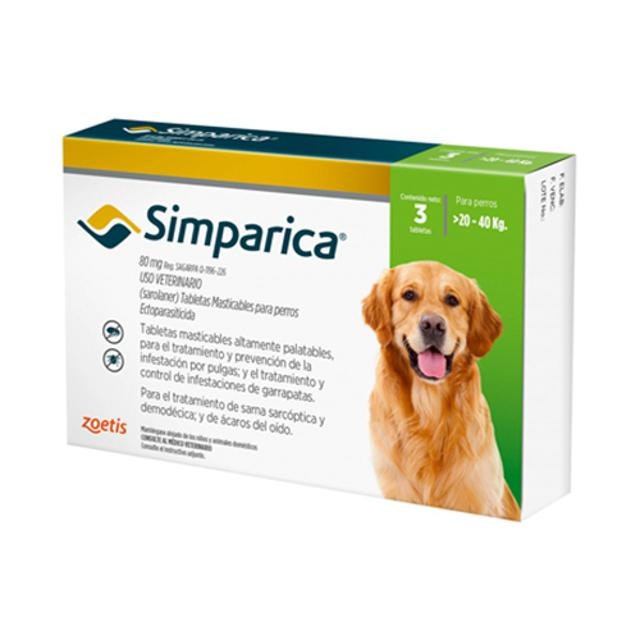 20kg a 40kg / 3 Tabletas Para Pulgas y Garrapatas / Simparica