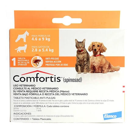 4.6kg a 9kg Perros - 1 Tableta Para Pulgas / Comfortis