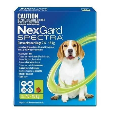 7.6-15kg Perros - 1 Tableta Para Pulgas y Garrapatas / NexGard Spectra
