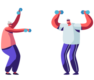 an illustration of two seniors lifting small weights