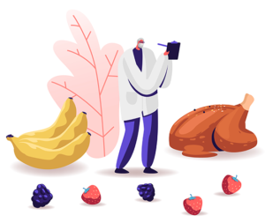 an illustration of an older man surrounded by foods like bananas, turkey, and strawberries