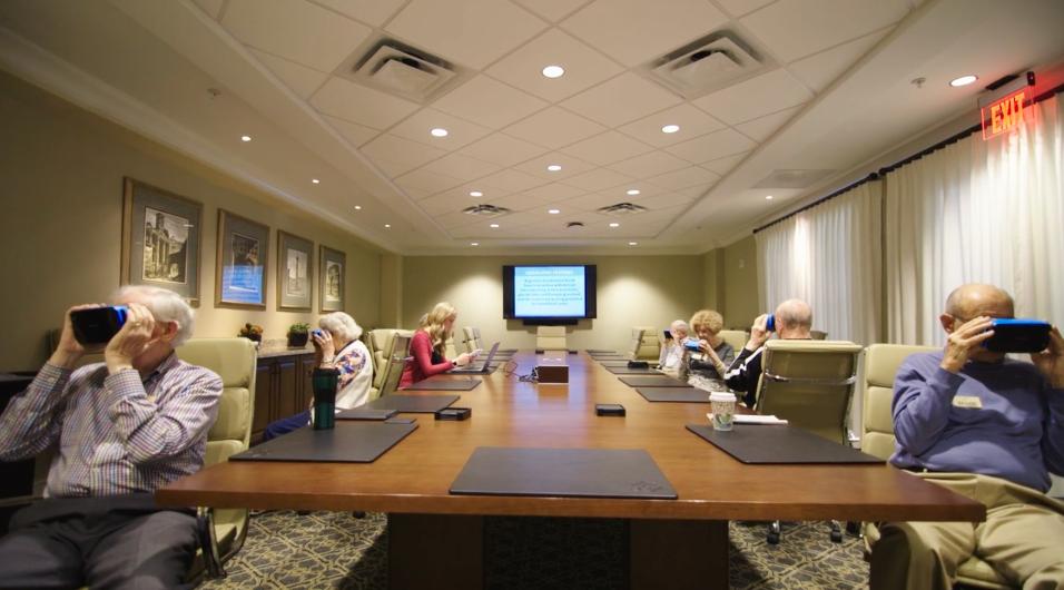 Senior residents using virtual reality headsets at Edgemere Senior Living