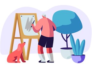an illustration of an older man outside painting a picture