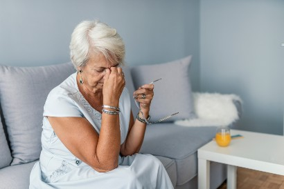senior woman frustrated with memory loss