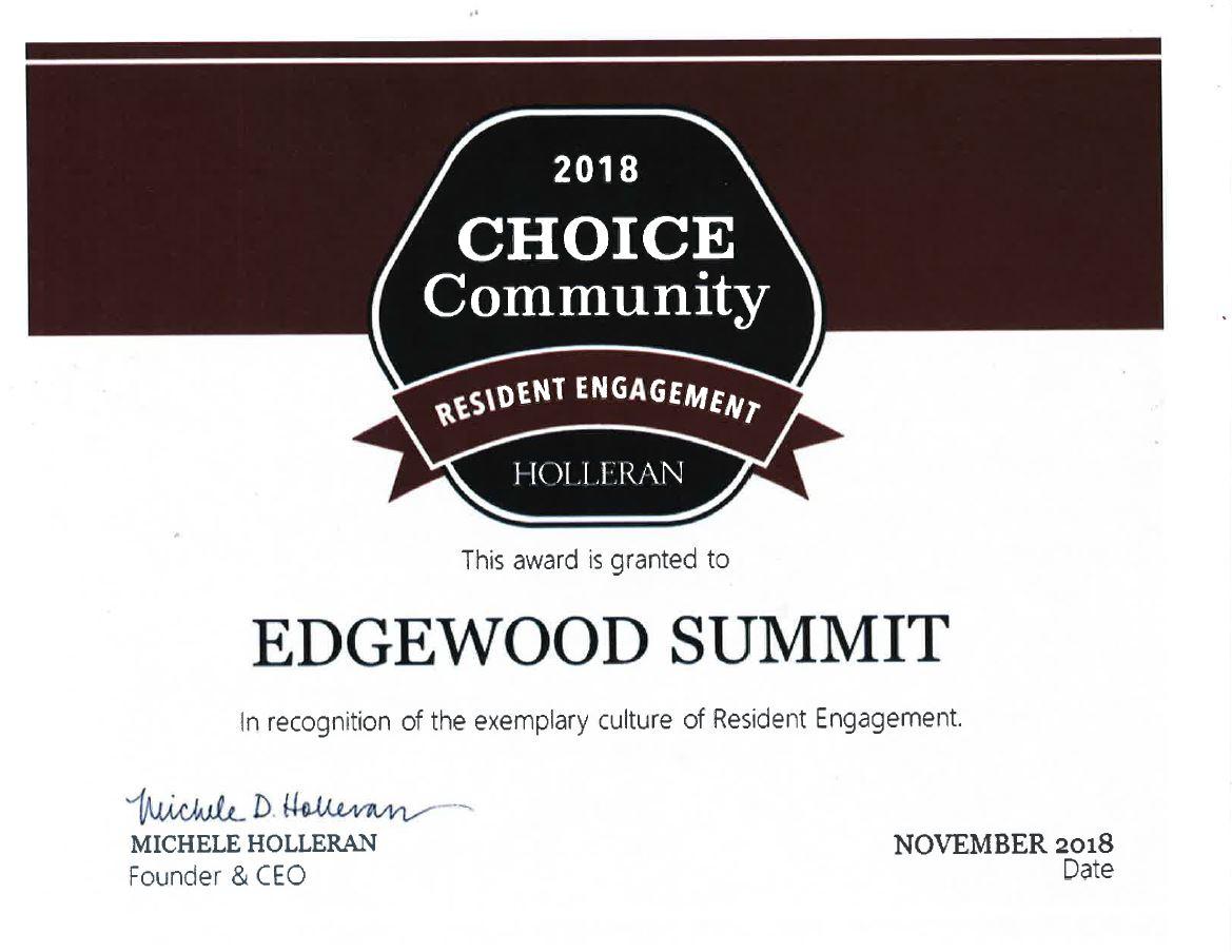 Edgewood Summit Accepts Resident Engagement Award