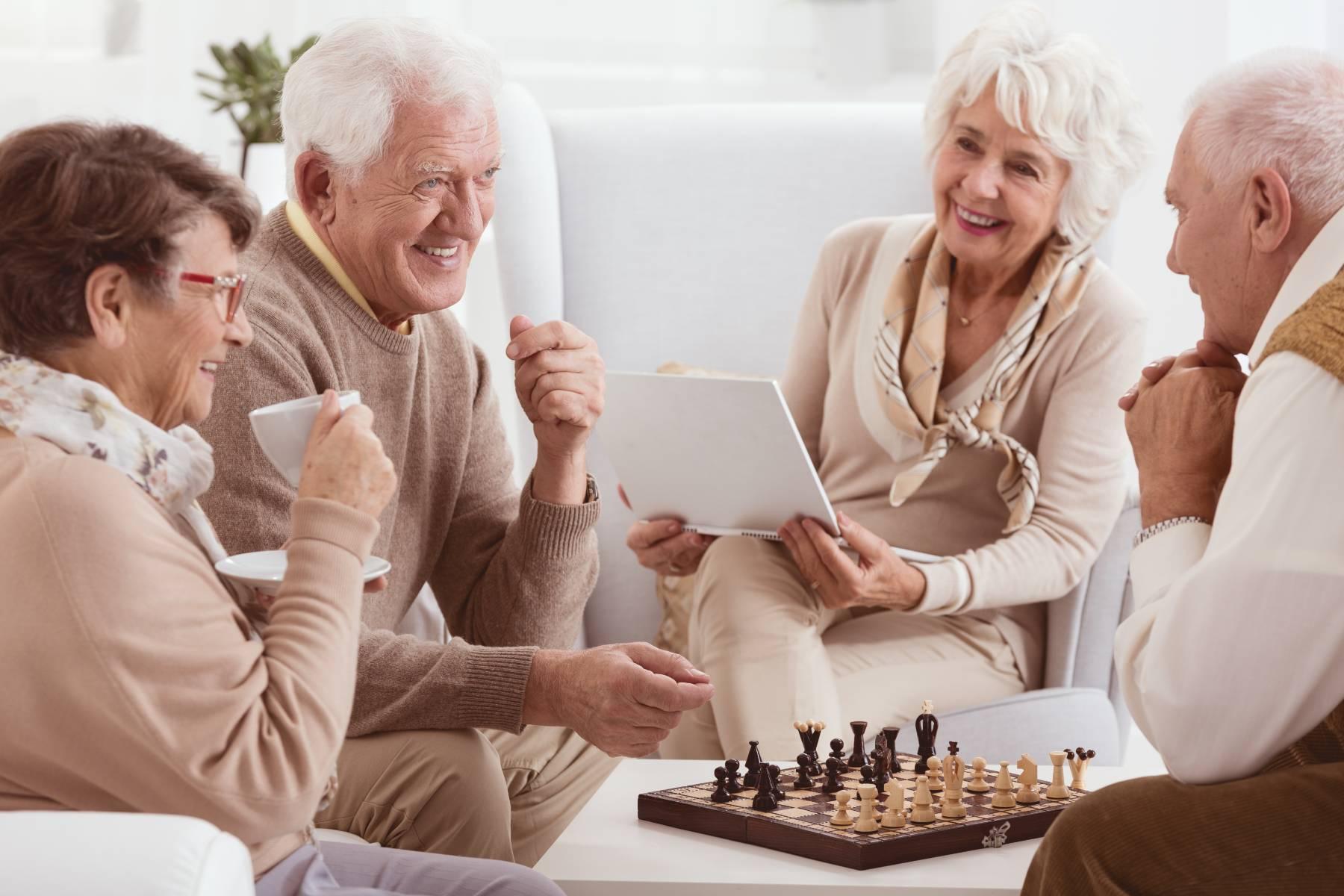 seniors socializing at a senior living community