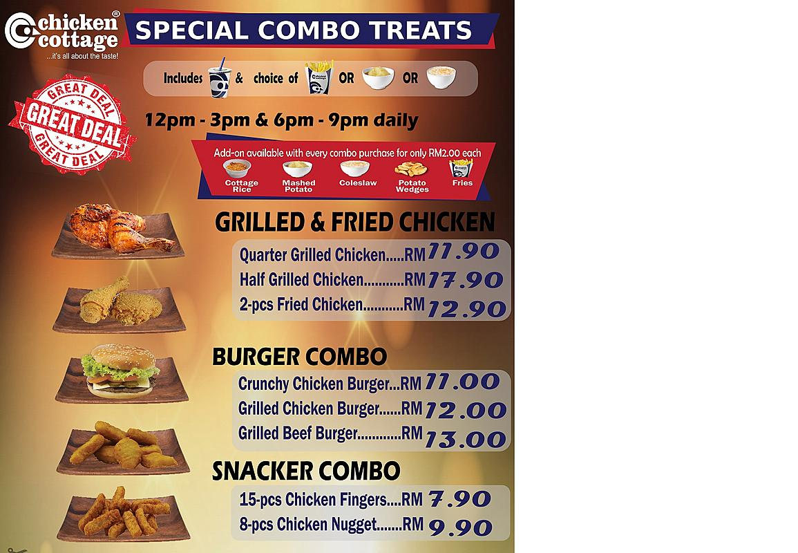 Special Treats Menu for Lunch & Dinner