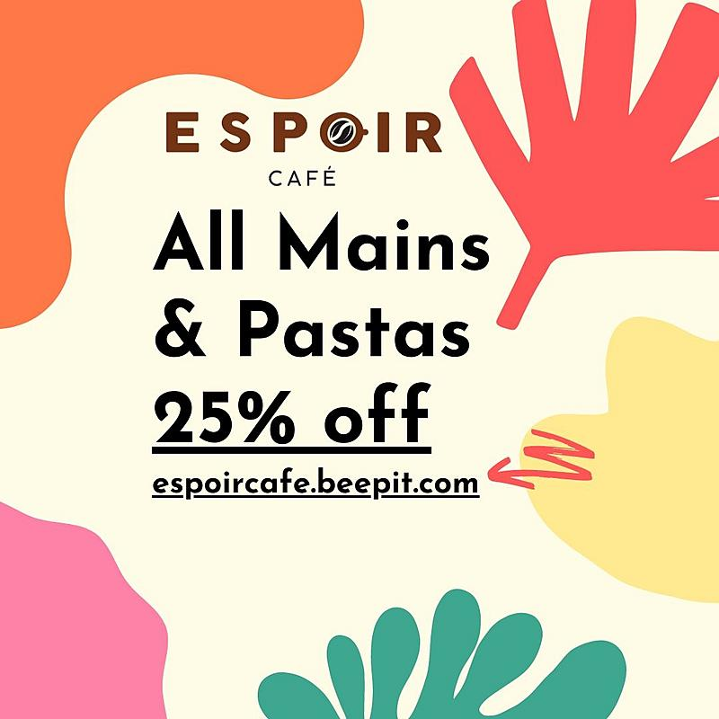 25% off Mains & Pastas