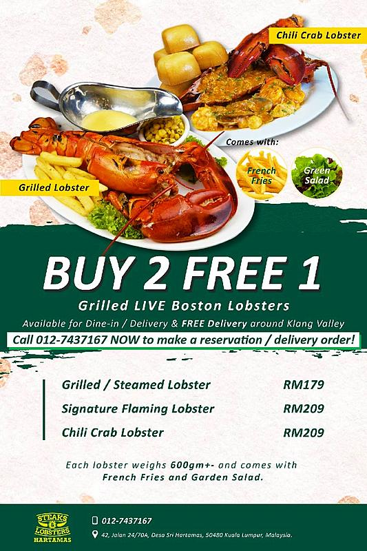 Buy 2 Get 1 FREE Lobster