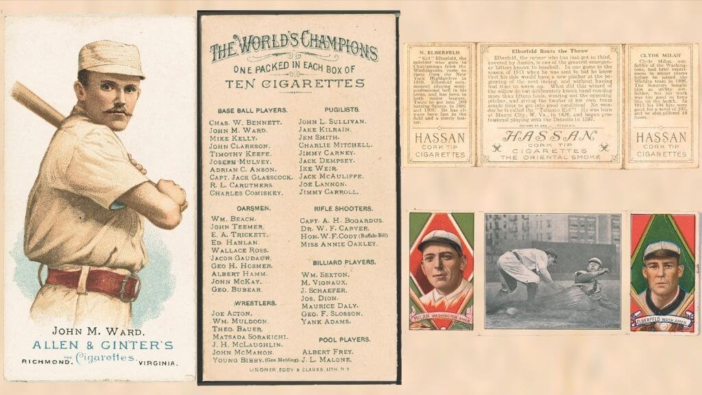 Old baseball cards with cigarette advertisement