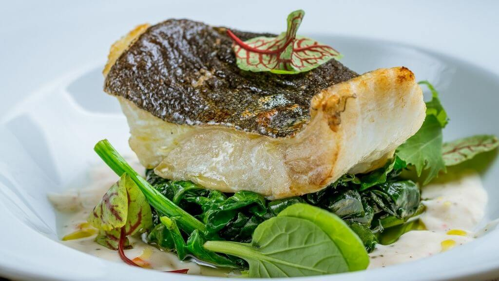 Halibut and spinach dinner