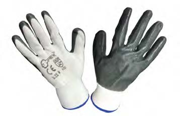 "Orex Safety Glove With White Polyester & Gray Nitrile - 9"""" """