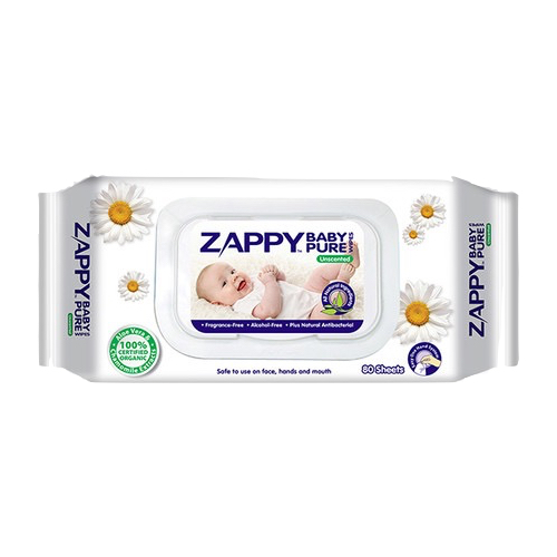 Zappy Organic Baby Pure Wet Wipes Unscented 80's (24 Pack a Carton)