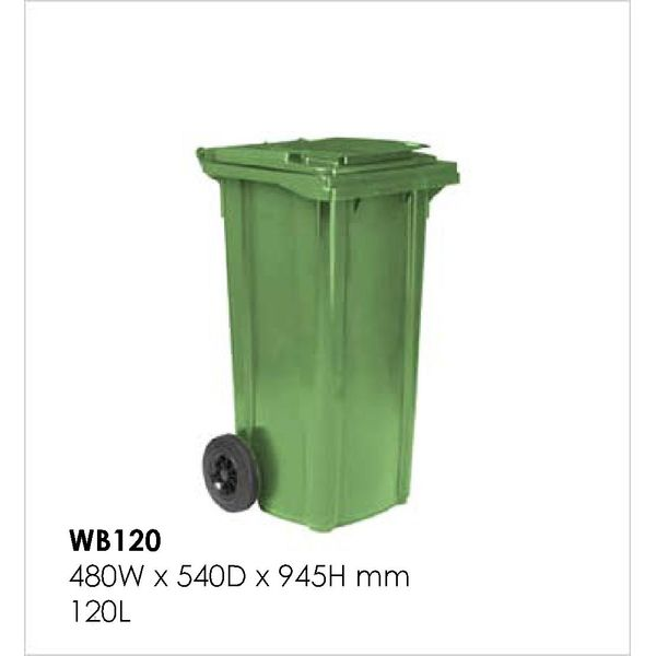 120 Litres Mobile Garbage Waste Bin W/wheels - Europe