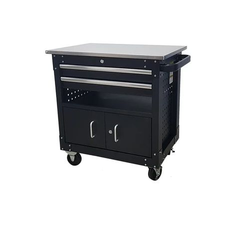 2-drawer Cabinet With Lockable Compartment & Stainless Steel Worktop
