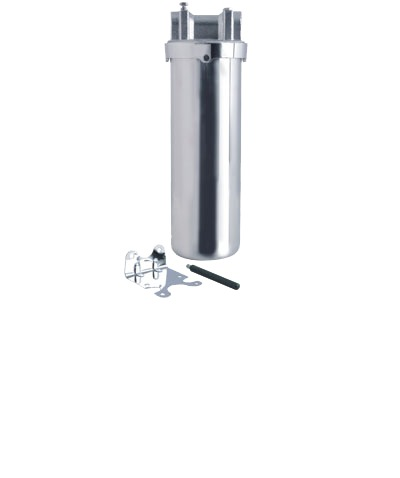 """SHOWY 10"""" STAINLESS STEEL WATER FILTER WITH BRACKET & OPENER (1/2"""" THREAD BRASS HEAD) - 2824"""