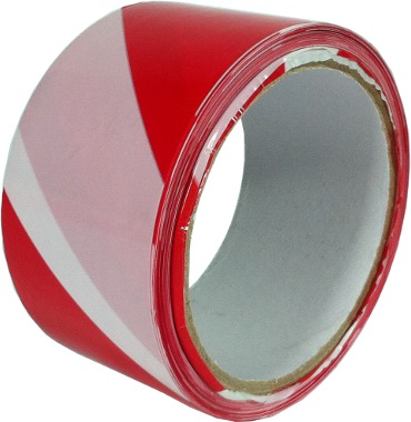 "Swan Red & White Warning Tape 2"" (36 Rolls per Carton)"