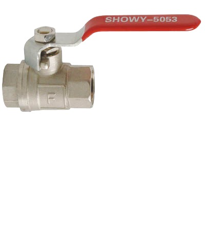 "SHOWY RED LONG HANDLE F/F BALL VALVE 1/2"" - 5053"