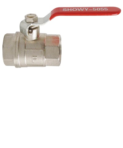 """SHOWY RED LONG HANDLE F/F BALL VALVE 1""""- 5055"""