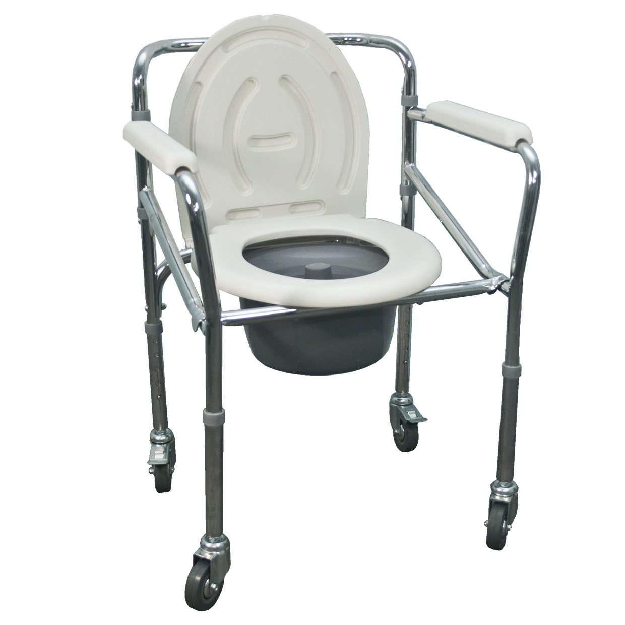 Assure Chrome Steel Commode Chair With 4 Lock Ar-0221