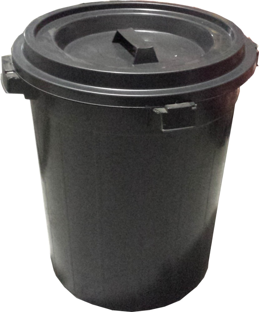 PLASTIC RUBBISH BIN W/COVER