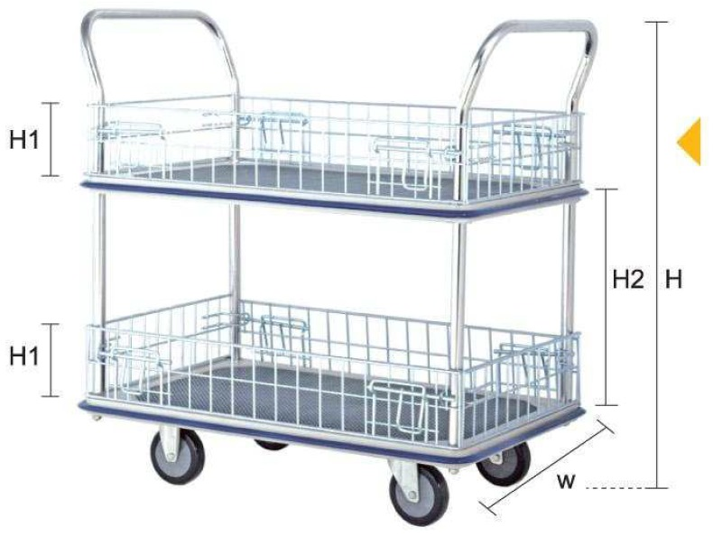 Jumbo 2tier Double Handle Mesh Trolley L985*w610*h1060 370kg HB220M