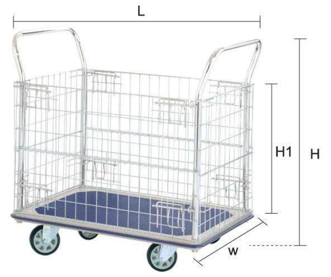 Jumbo Double Handle Mesh Trolley L1225*w760*h1000 400kg HG313
