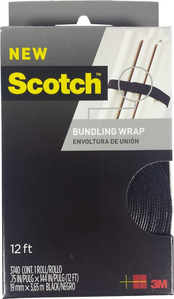 "3m Scotch Black Bundling Strap 3/4"" X 12ft - 3740"