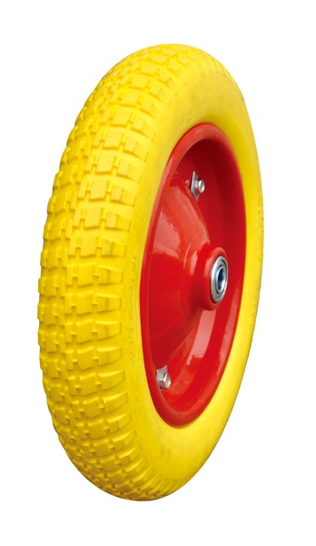 "Pu Wheel Yellow for Wheel Barrow-13"" Metal Rim"