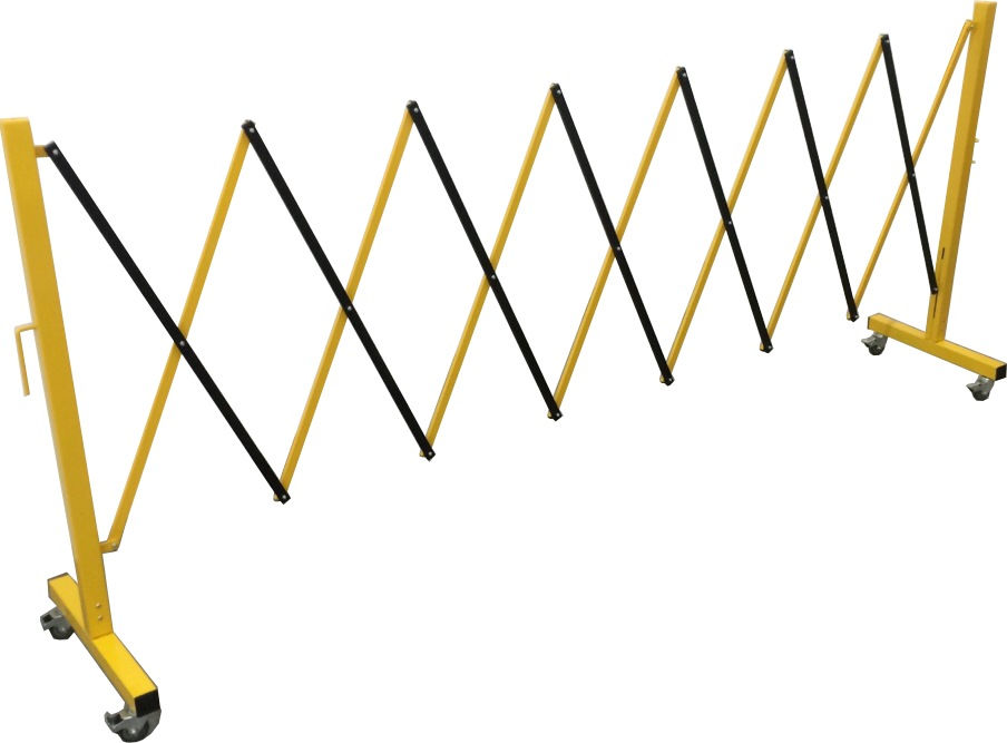 Metal Barricade With Wheels, Extend up to 3.5m, Yellow and Black