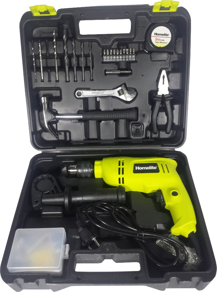 HOMELITE 13MM IMPACT DRILL KIT W/138pcs ACCESSORIES & CASE, 650W, HID650RSK