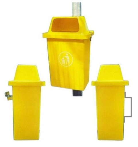 POST MOUNTED LITTER BIN 42L P42 - 420W X 310D X 645HT