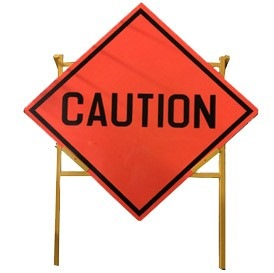 "Traffic Reflective Sign Plate 900x900mm ""caution""c/w Metal Stand"