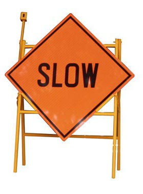 "Traffic Reflective Sign Plate 900x900mm ""slow"" C/w Metal Stand"