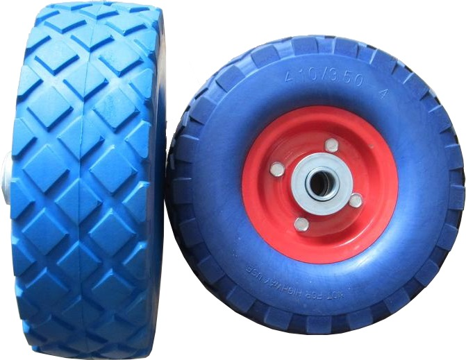 "PU WHEEL FOR BLUE WHEEL BARROW-14""X3.5"" PVC RIM"
