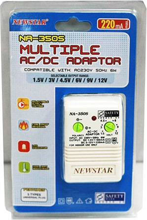 NEWSTAR MULTIPLE AC/DC ADAPTOR NA350S 1.5V-12V(PSB)
