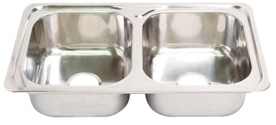 Showy Stainless Steel Equal Double Bowl Sink 850x500x185mm-2946
