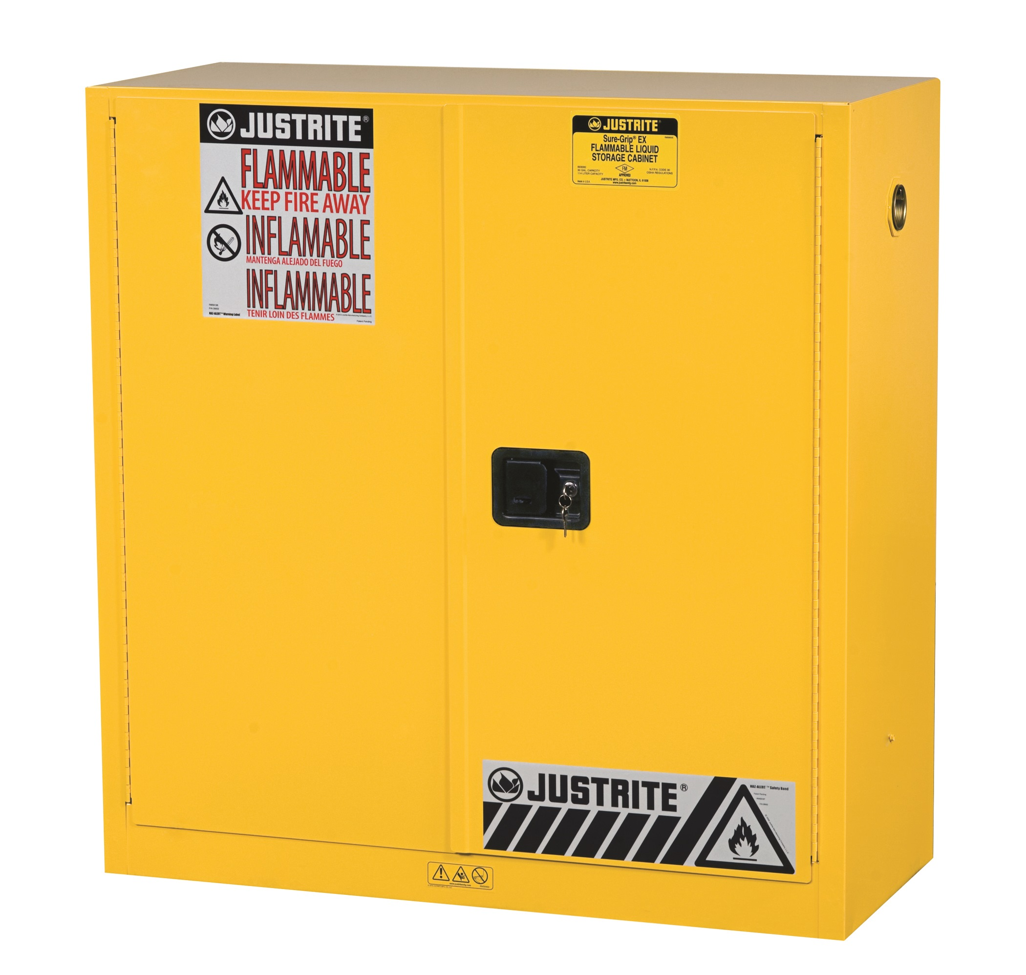 JUSTRITE 30 GAL YELLOW CABINET SURE-GRIP EX WITH PADDLE HANDLE JUM893000