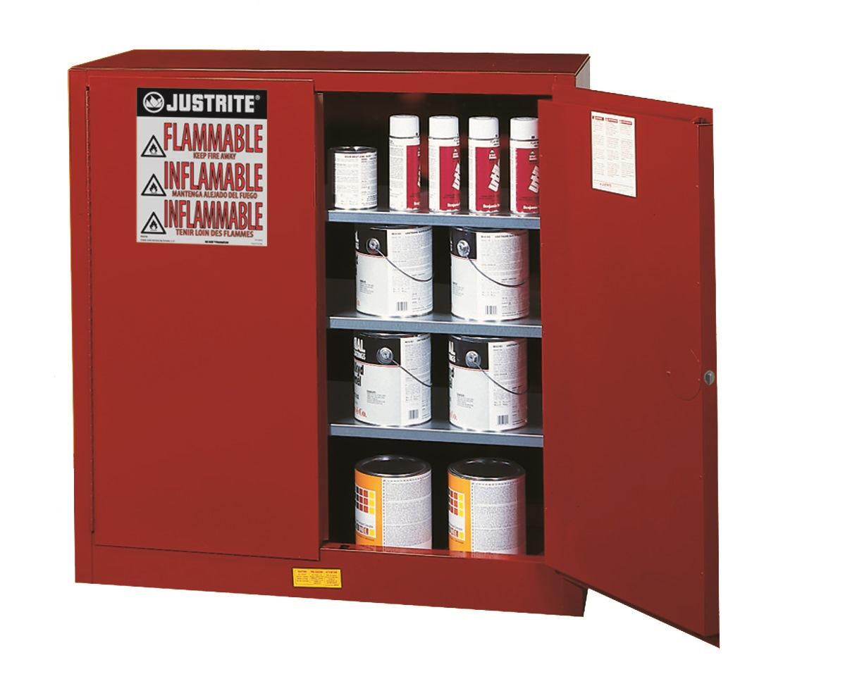 JUSTRITE 40 GAL CABINET MANUAL RED P & I SAFE EX JUM893011