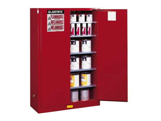 JUSTRITE 60 GAL CABINET RED P&I MANUAL WITH PADDLE HANDLE JUM894511