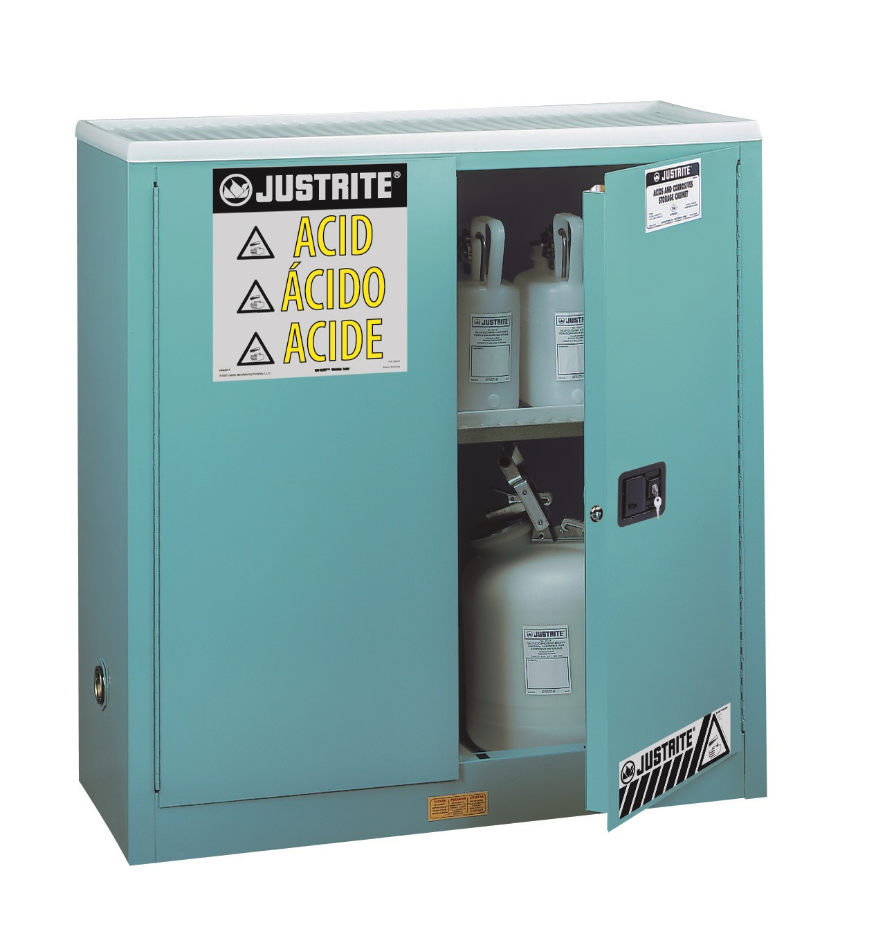 JUSTRITE 30 GAL SAFETY CABINET FOR CORROSIVES BLUE MANUAL JUM893002