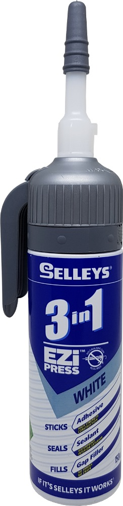 SELLEYS EZI PRESS 3 IN 1 ADHESIVE,SEALANT,GAP FILLER WHITE 150G