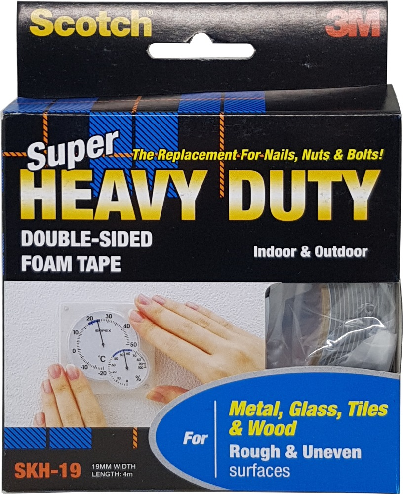 3M SCOTCH SUPER HEAVY DUTY TAPE - SKH-19  ROUGH&UNEVEN (METAL GLASS TILE WOOD) 4M
