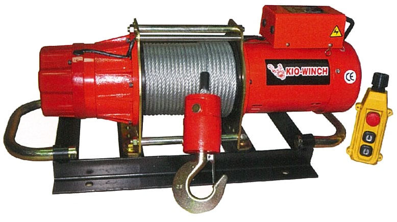 KIO ELECTRIC WINCH W/BASE, 500KG, 240V, 8*50M ROPE, GG500BL