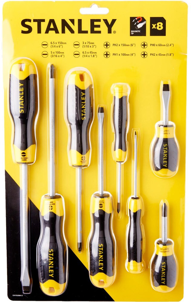 STANLEY CUSHION GRIP 2 SCREWDRIVER 8PCS/SET 92-004-223