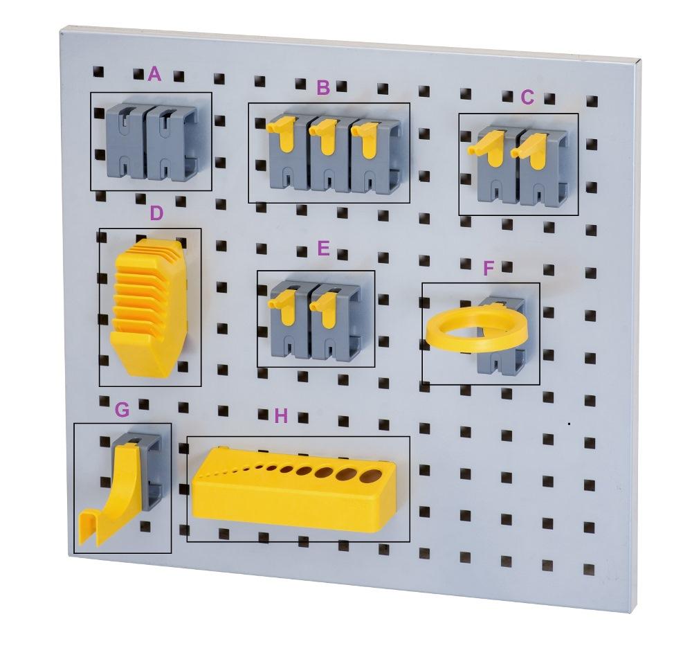 Jumbo Flexi Wall Tool Holder Set A, C/w 12pcs Hooks, TH1-A, L530xh488