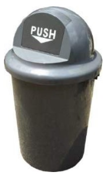 60-LITRES ROUND PUSH FLAP PLASTIC STANDING BIN